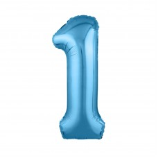 Agura фольг цифра Slim 1 холодный голубой 102 см (в уп)