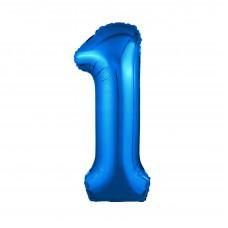 Agura фольг цифра Slim 1 синий 102 см (в уп)