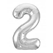 Agura фольг цифра Slim 2 серебро 102 см (в уп)