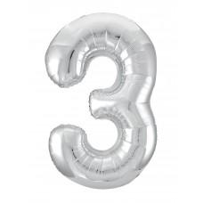 Agura фольг цифра Slim 3 серебро 102 см (в уп)