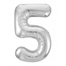 Agura фольг цифра Slim 5 серебро 102 см (в уп)