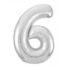 Agura фольг цифра Slim 6 серебро 102 см (в уп)