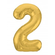 Agura фольг цифра Slim 2 золото 102 см (в уп)