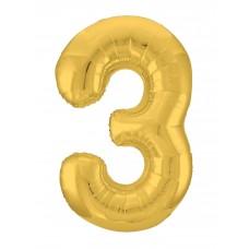 Agura фольг цифра Slim 3 золото 102 см (в уп)