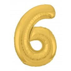 Agura фольг цифра Slim 6 золото 102 см (в уп)