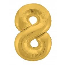 Agura фольг цифра Slim 8 золото 102 см (в уп)