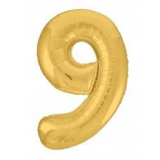 Agura фольг цифра Slim 9 золото 102 см (в уп)