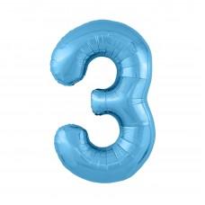 Agura фольг цифра Slim 3 холодный голубой 102 см (в уп)