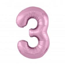 Agura фольг цифра Slim 3 фламинго 102 см (в уп)