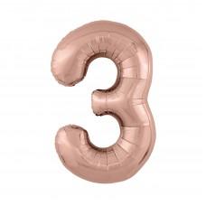 Agura фольг цифра Slim 3 розовое золото 102 см (в уп)