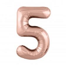 Agura фольг цифра Slim 5 розовое золото 102 см (в уп)