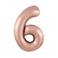 Agura фольг цифра Slim 6 розовое золото 102 см (в уп)