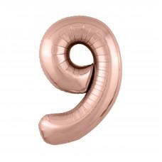 Agura фольг цифра Slim 9 розовое золото 102 см (в уп)