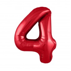 Agura фольг цифра Slim 4 красный 102 см (в уп)