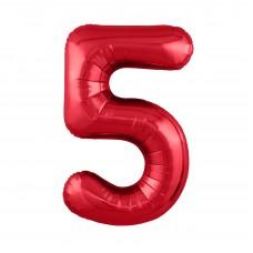 Agura фольг цифра Slim 5 красный 102 см (в уп)