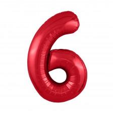 Agura фольг цифра Slim 6 красный 102 см (в уп)