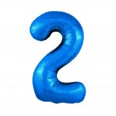 Agura фольг цифра Slim 2 синий 102 см (в уп)