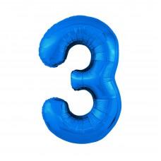 Agura фольг цифра Slim 3 синий 102 см (в уп)