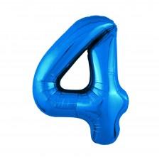 Agura фольг цифра Slim 4 синий 102 см (в уп)