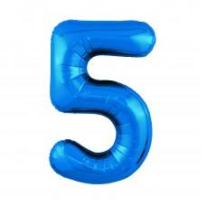 Agura фольг цифра Slim 5 синий 102 см (в уп)