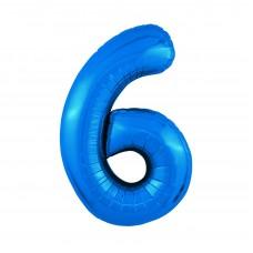 Agura фольг цифра Slim 6 синий 102 см (в уп)
