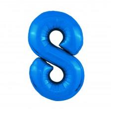 Agura фольг цифра Slim 8 синий 102 см (в уп)