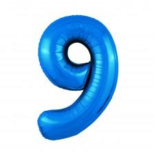 Agura фольг цифра Slim 9 синий 102 см (в уп)