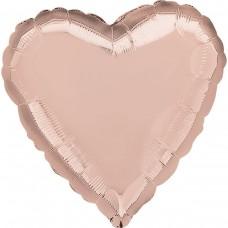 "AN 18"" сердце металлик розовое золото"