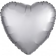 "AN 18"" сердце сатин белое золото"