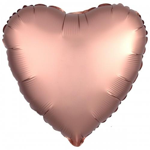 """AN 18"""" сердце сатин розовое золото"""