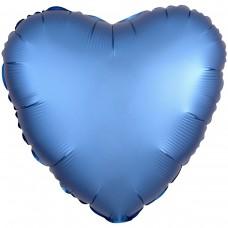 "AN 18"" сердце сатин голубое"
