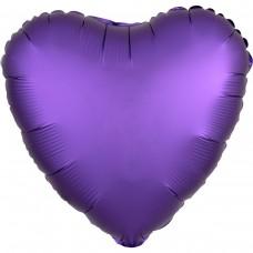 "AN 18"" сердце сатин фиолетовое"