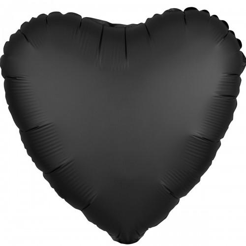 """AN 18"""" сердце сатин черное"""