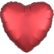 "AN 18"" сердце сатин красный"