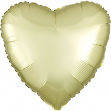 "AN 18"" (45см) сердце сатин светло желтый"
