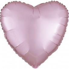 "AN 18"" (45см) сердце сатин светло розовое"