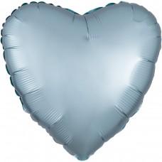 "AN 18"" (45см) сердце сатин светло голубое"