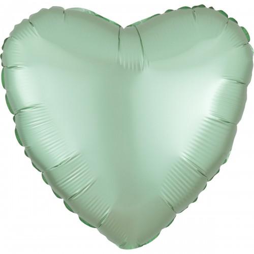 "AN 18"" (45см)  сердце сатин мятное"