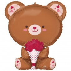 Куля фігура Мишка з букетом червоних троянд (AN БФ) США
