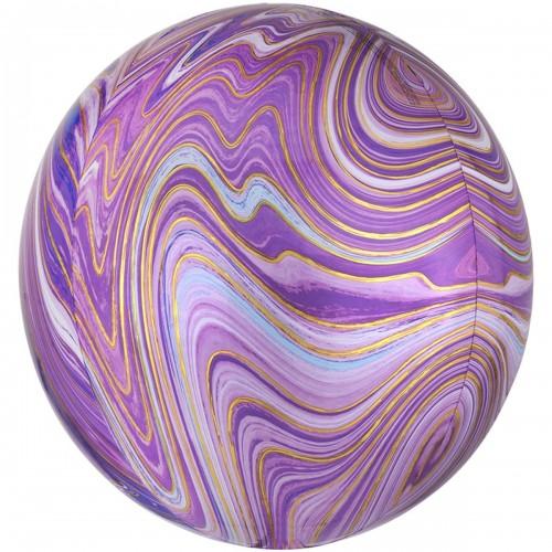 """Шар фольгированный сфера 16"""" АГАТ фиолетовый (An) США"""