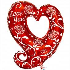 Фигура love you cердце с розами  (fm БФ)
