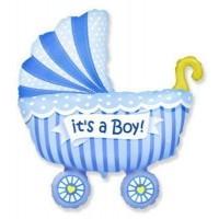 Фигура коляска детская голубая  (fm БФ)