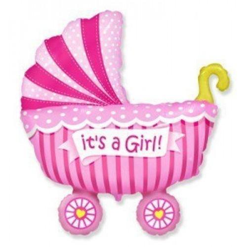 Фигура коляска детская розовая  (fm БФ)