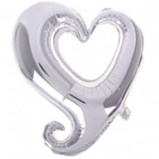 Фігура серце срібне вензель (fm БФ)