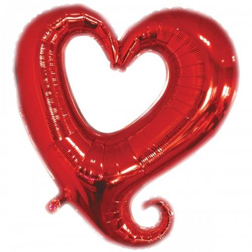 Фигура сердце красное вензель  (fm БФ)