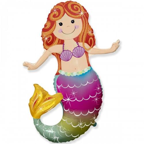Фольгированная фигура русалка с хвостом радужным (fm БФ)