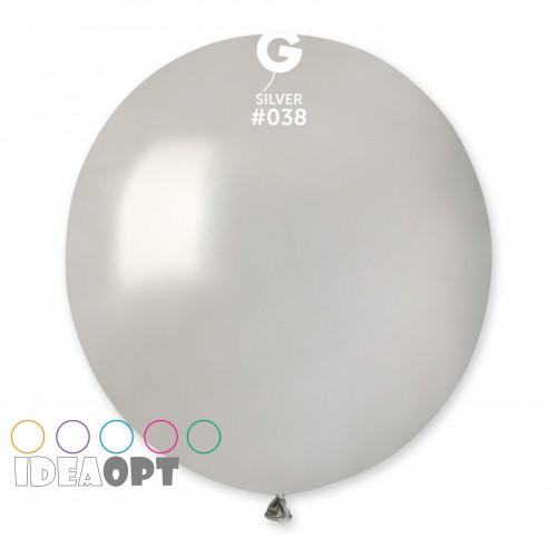 """18""""(46см) шар латексный металик серебро/38 (1шт) Gemar (Италия)"""