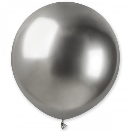 """18"""" (46см) латексный шар ХРОМ серебро Gemar Италия (1шт)"""
