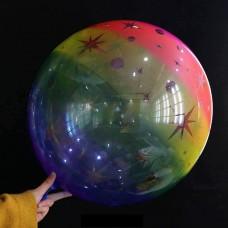 """24 """"(66см) Баблс прозорий з зірками (райдужний) Китай"""
