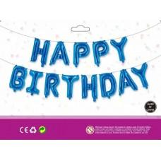Куля Happy Birthday синій (40см висота літери)